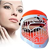 Light Photon Therapy Facial Mask - Lamp For Acne, Smoothing Face Wrinkles & Skin Rejuvenation - Machine Includes 3 LED Lights