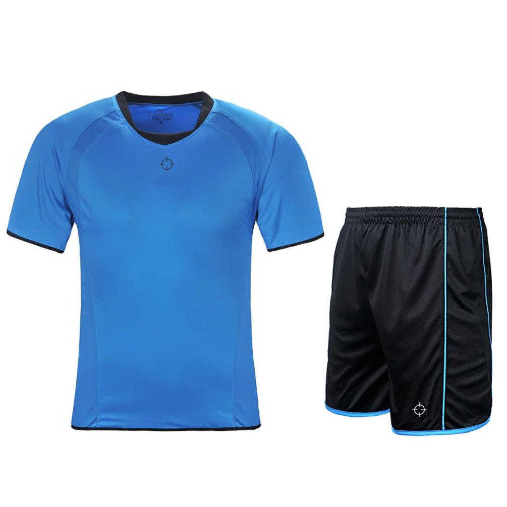 rigorerキッズ男の子女の子サッカージャージーと短パントレーニングジャージーセット半袖Soccer Uniform B0776VZWV8 140|ブルー/ブラック ブルー/ブラック 140