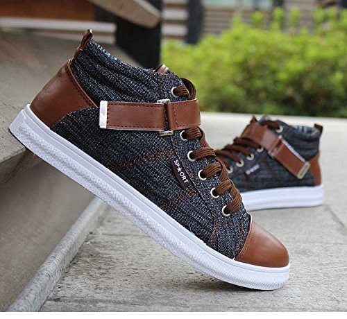 Lace Flat up Denim Boot Gaorui Ankle Boat Black Canvas Men Shoes Casual qwzw6CT