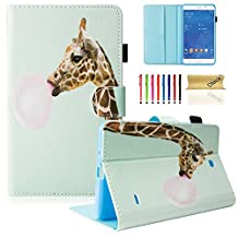 "T230nu Case, Tab 4 7.0 Case, Dteck(TM) Fashion Art Print Slim PU Leather Stand Case with Card Slots Magnetic Closure Protective Cover for Samsung Galaxy Tab 4 7.0"" T230 /T231/ T235, Giraffe"