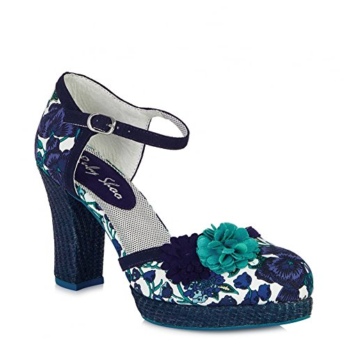 LADIES RUBY SHOO FLO BLUE FLORAL 1970S VINTAGE RETRO SHOES-UK 7 (EU 40)