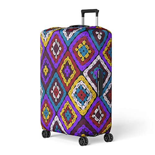 Semtomn Luggage Cover Granny Squares Pattern and Ripples Afghan Crochet of Multicolored Travel Suitcase Cover Protector Baggage Case Fits 26-28 Inch