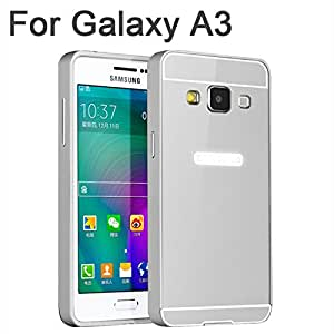 2In1 Metal+Acrylic Back Cover A3000 A5000 Phone Hybird Cases Ultra Thin Luxury Aluminum Bumper For Samsung Galaxy A5 A3 Case Silver For Galaxy A-Silver For Galaxy A