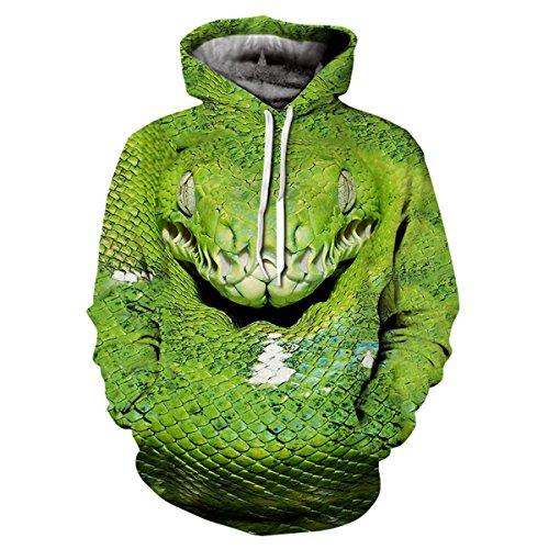 HiRosy Unisex Cool Realistic 3D Digital Print Pullover Hoodie Hooded Sweatshirt For Men For Women & 30 Styles Optional (Snake, 2X-LARGE/3X-LARGE) (Snake Hoodie)