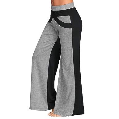 Color Sólido Sueltos Casual Remiendo Mujer Pantalones Yoga Mujeres Fitness Pilates Pantalones Falda de Pierna Ancha Yoga Mujer Pantalones Deportivos ...