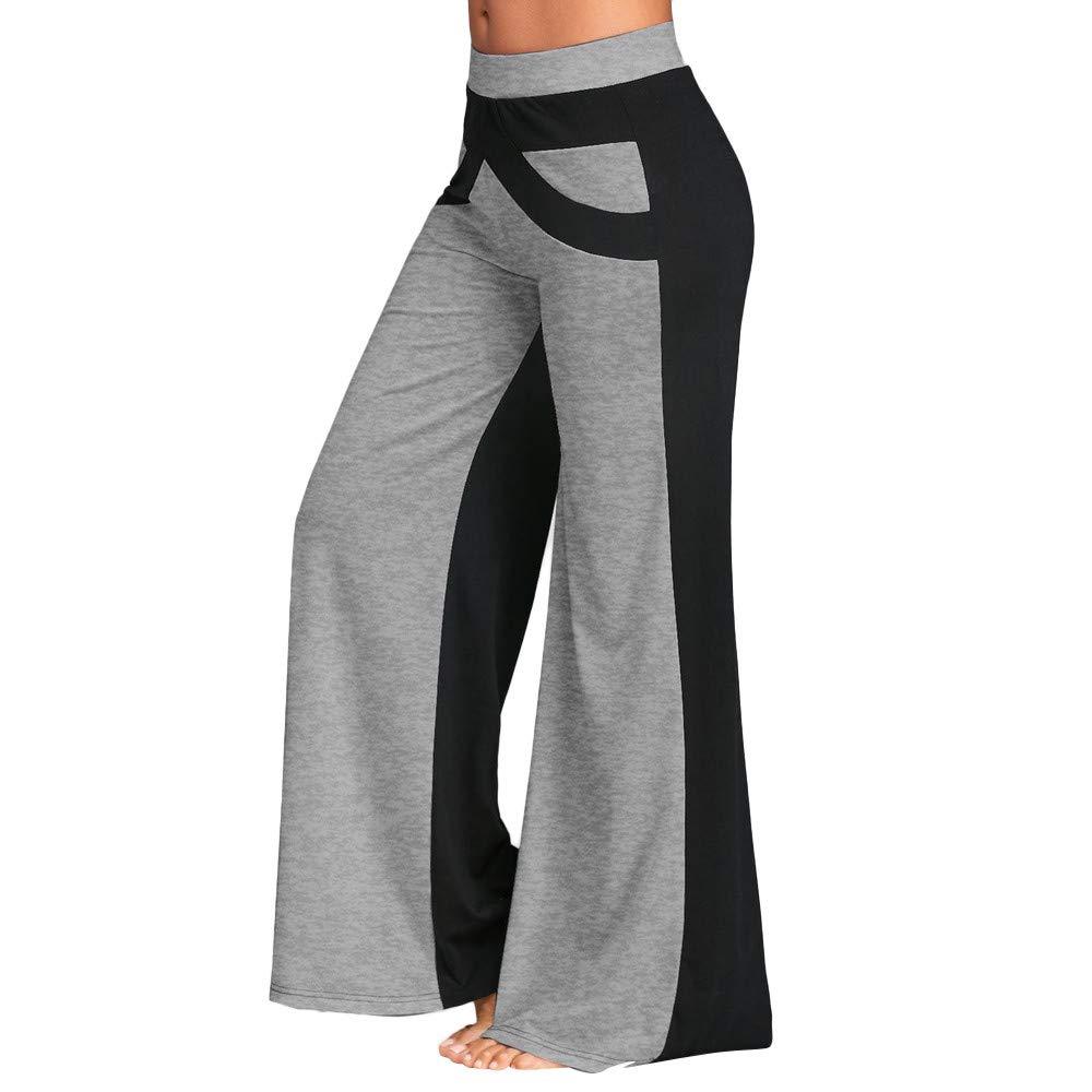 Women's High Waist Pants,Ladies Summer Loose Elastic Patchwork Bell Bottoms Wide Leg Yoga Trousers