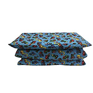 KinderMat Cover, Pillowcase Style Full Sheet for Rest Mats 24 x 48 Inches, Large, Trucks and Tractors, Blue