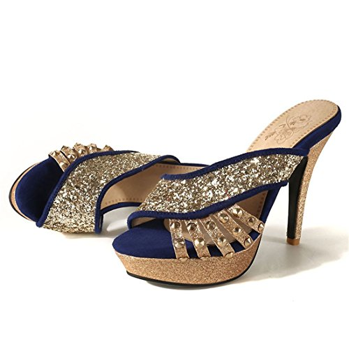 tabella sexy a lustrini signore tacchi 42 blu sandali spillo sandali i impermeabile super i qUYzt