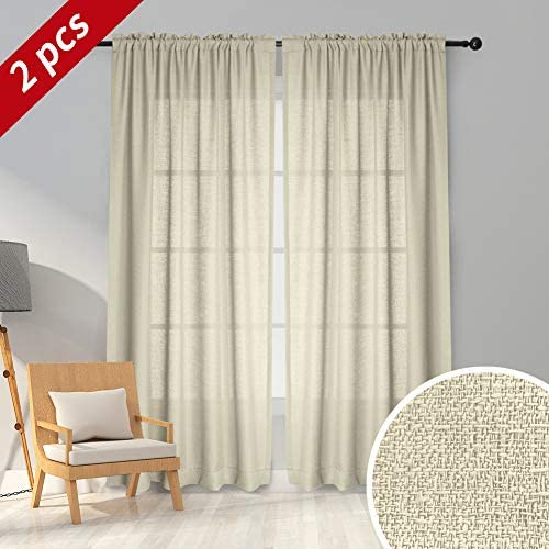 Melodieux Beige Semi Sheer Curtains 96 Inches Long for Living Room – Linen Look Bedroom Rod Pocket Voile Drapes, 52 by 96 Inch 2 Panels