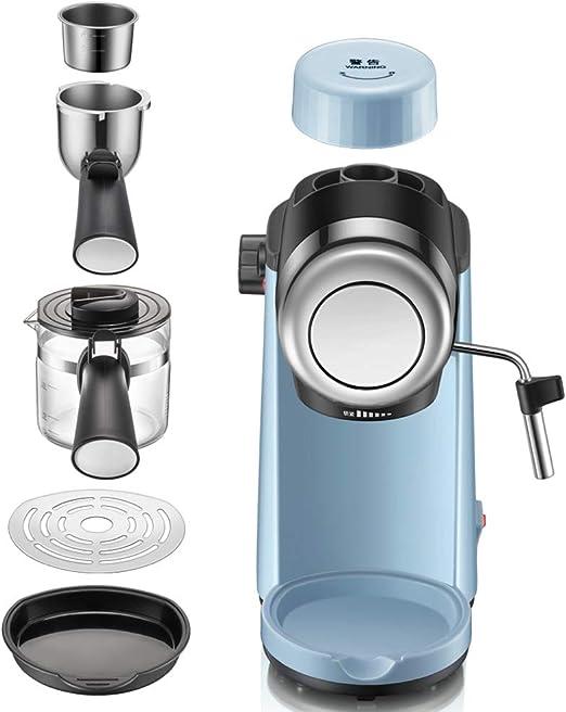 Máquina de espresso, Cafetera Espresso Steam & Pump 5 bar de presión/240ml/800 vatios/Espuma de leche de vapor para el Hogar/Oficina - Azul: Amazon.es: Hogar