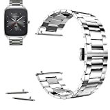 """22mm Stainless Steel Butterfly Buckle Watch Band For ASUS ZenWatch 2 - 1.65"""" 2015 (YESOO Retail Packaging - 180 Days Warranty) (Link Gold) (22mm, Link Silver)"""