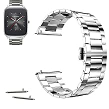 22mm Stainless Steel Butterfly Buckle Watch Band For ASUS Zenwatch 2 WI501Q 2015 (YESOO Retail Packaging - 180 Days Warranty) (Silver)