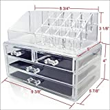 Generic YanHong-US3-151027-114 8yh2479yh r 2 pcs Clear Jewelry Chest ke Up Case Cosmetic Holder Cosmetic Make Up Case awers Jew Large 4 Drawers der Large Organizer 2 pcs Clear