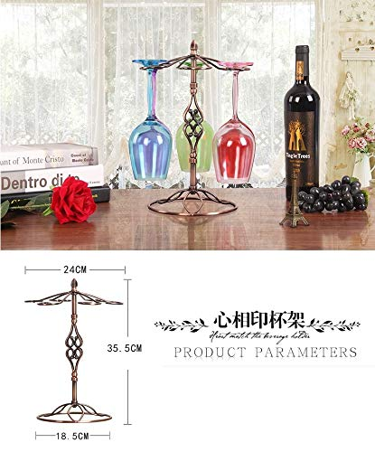 Culturemart Retro Iron Wine Glass Rack Kitchen Bar Cup Hanging Holder Goblet Display Stand Drinking Glass Stemware Shelf Home Decor