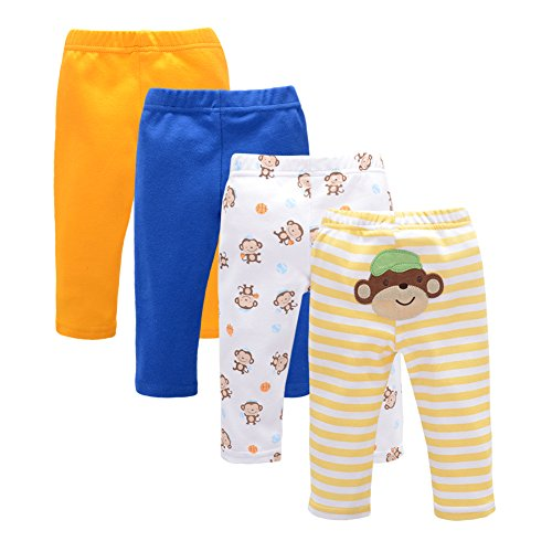 3 Piece Elastic Waist Leggings - 2017 Spring 3 Pieces Baby Pants Cartoon Toddler Girl Leggings Full Length Elastic Waist Kids Pant Trousers Baby Clothes (S, Blue)