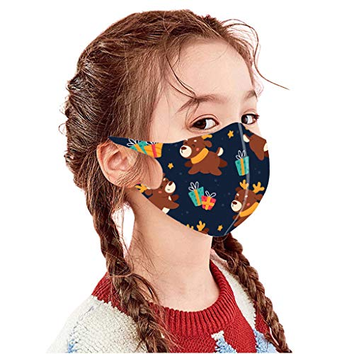 ZTY66 10Pack Face Protection for 3-12T Kids-Mixed Color& Lovely Christmas& Cartoon Pattern-Washable&Reusable