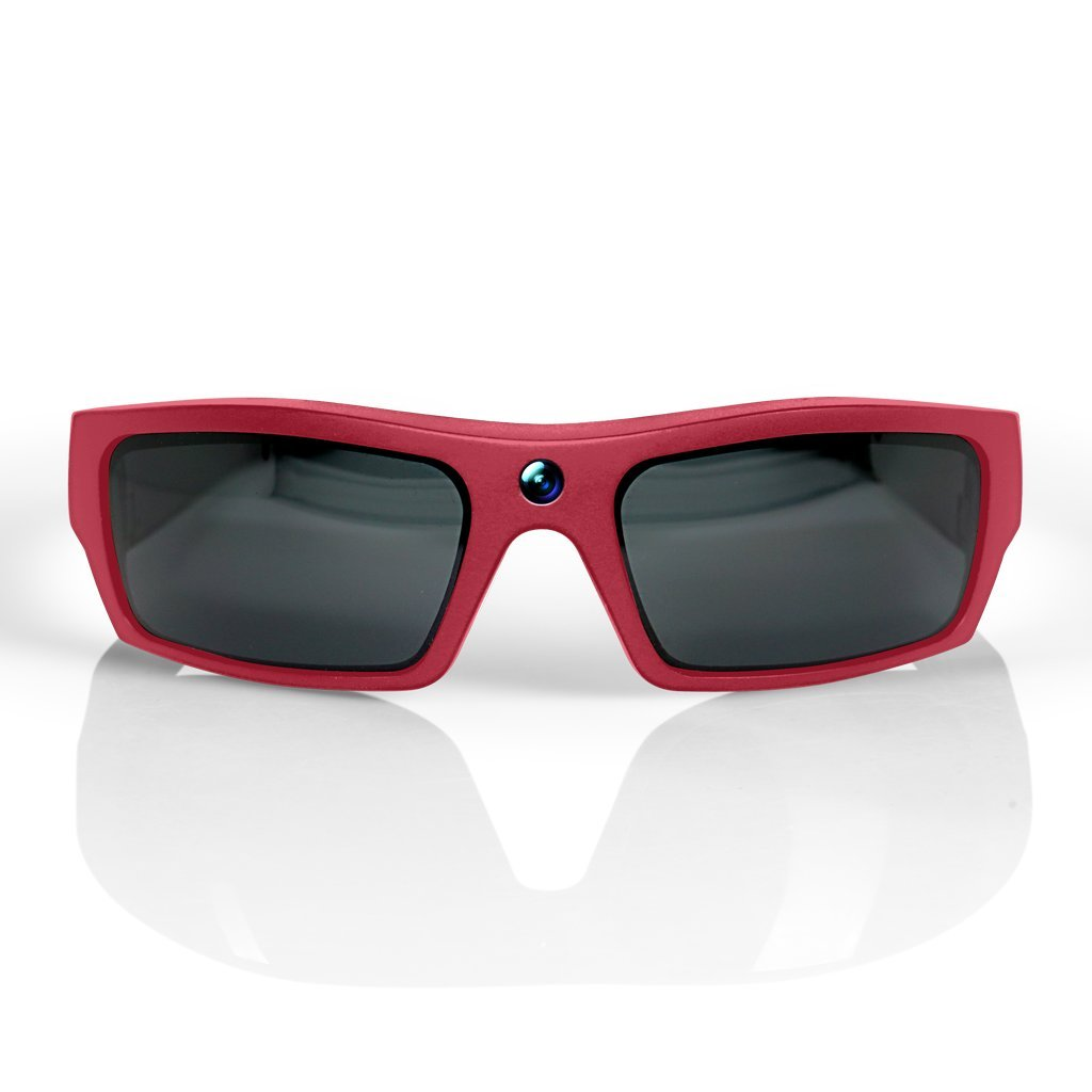 GoVision SOL 1080p HD Camera Glasses Video Recording Sport Sunglasses with Bluetooth Speakers and 15mp Camera - Red