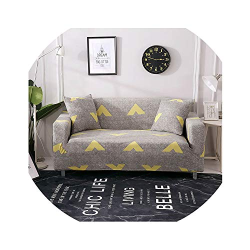 ACOMY Floral Leaves Printing Sofa Cover Tight Wrap All-Inclusive Couch Cover for Living Room Anti-Dirty Furniture Cover 1/2/3/4 Seater,Dark Vanilla,4seater 235-300cm