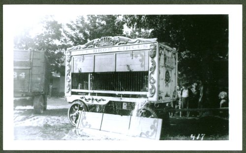 - Half-open Animal Wagon #9 Cole Bros Circus backlot 1942