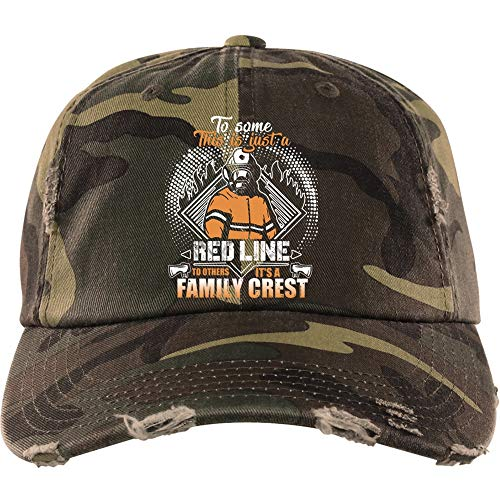 Family Crest Trucker Hat - This Is Just A Red Line Hat, It's A Family Crest District Distressed Dad Cap (Distressed Dad Cap - Military Camo)