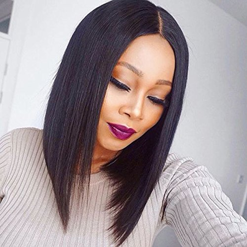 KUN Hair 130 Density Yaki Straight Lace Front Wigs Human Hair Short Wigs for Black Women Human Hair Bob Wigs Natural Color (16