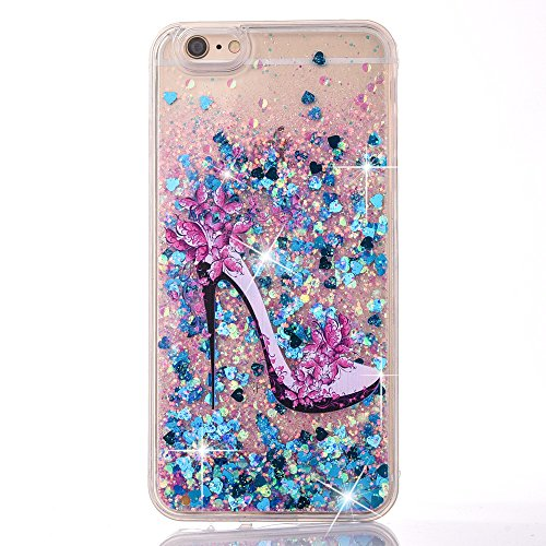 UCLL iPhone 7 Plus Glitter Case, iPhone 8 Plus Liquid Case,High Heeled Moving Bling Glitter Floating Cover for iPhone 7 Plus iphone 8 Plus with a Screen Protector (Blue)