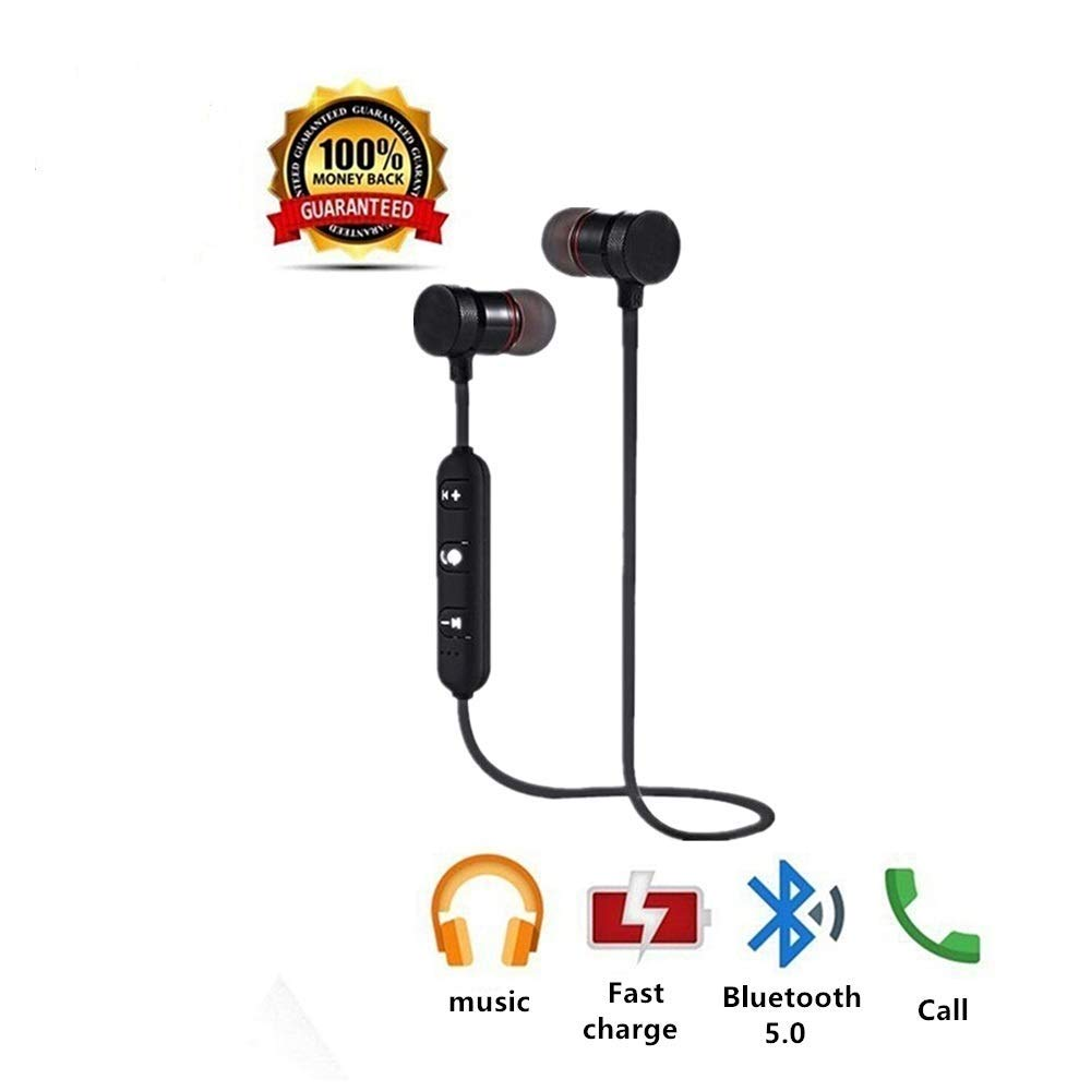 Bluetooth Headphones Wireless Earbuds Sweatproof Earphones Magnetic Attraction Stereo Earphones for Running Workout Gym Noise Cancelling