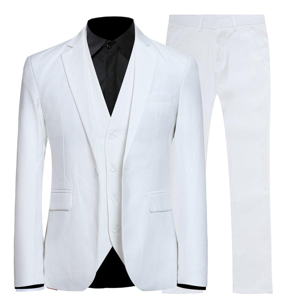 FOMANSH メンズ スーツ 1つボタン スーツセット 無地 3点セット スタイリッシュスーツ フォーマルスーツ オールシーズン ベスト 大きいサイズ あり 秋 冬 夏 春 B075K9DK7M L|ホワイト ホワイト L