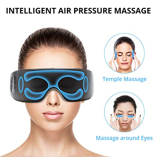 Electric Eye Massager with Heat, Air Compression, Bluetooth Music, Wireless Eye and Temple Massager for Relieving Dry Eyes, Eye Fatigue, Improving Blood Circulation and Sleep Quality-Black