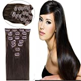 Straight Remy Human Hair Extensions 24 Colors for Your Choose in 15inch ,18inch ,20inch ,22inch ,Beauty Salon Women's Accessories (22inch 80g, #02 dark brown) by lilu