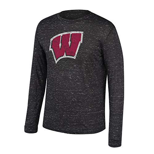 (Top of the World NCAA Men's Wisconsin Badgers Dark Heather Hearitage Tri-blend Long Sleeve Tee Black Heather Medium)