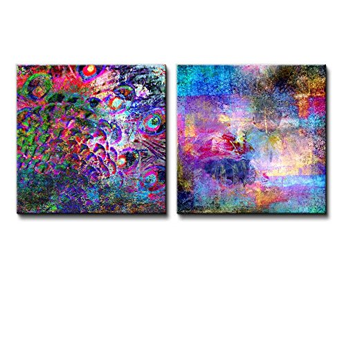 2 Piece Vibrantly Colored Splased with the Colors of the Rainbow