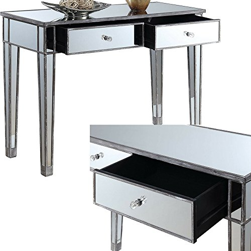 Narrow Sofa Table With Drawers: Amazon.com: Mirrored Console Table With Drawers Grey Wood