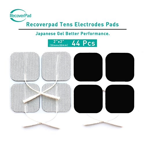 "RecoverPad 2"" Square Professional OTC TENS Unit Pads,44-Pack Reuseable Self Stick Carbon Electrode Pad - Non Irritating Design Premium Quality"