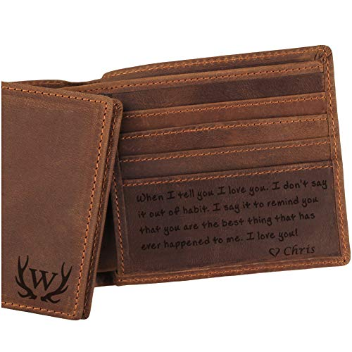3 Choices, Custom Mens Leather Wallet, Engraved Wallet for Men, Anniversary Gifts for Men, Husband Gifts, Boyfriend Gifts (Leather Engraved Personalized)