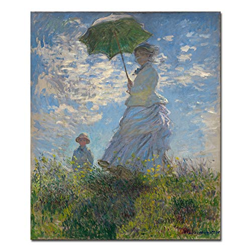 (Wieco Art Woman with a Parasol Madame Monet and Her Son Canvas Prints Wall Art of Claude Monet Famous Classic Oil Paintings Reproduction Gallery Wrapped People Pictures Artwork for Bedroom Home Decor )