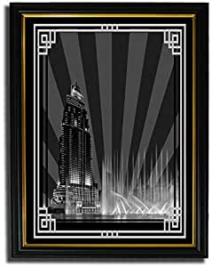 Address Hotel Down Town- Black And White With Silver Border No Text F08-m (a4) - Framed