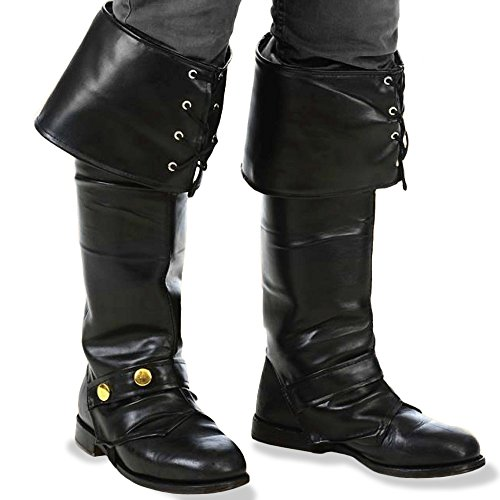 [Kangaroo's Deluxe Black Pirate Vinyl Boot Covers / Boot Tops] (Pirate Costumes Boot Covers)