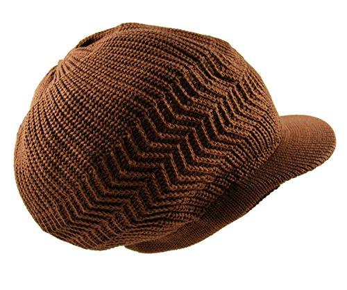 RW Knitted Cotton Rasta Slouchy Beanie Visor (Coco Brown)