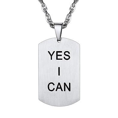 8e264657a47 PROSTEEL Collier Homme Acier Inoxydable Pendentif Plaque Militaire avec  Motif Lettre Yes I Can Chaîne Maille