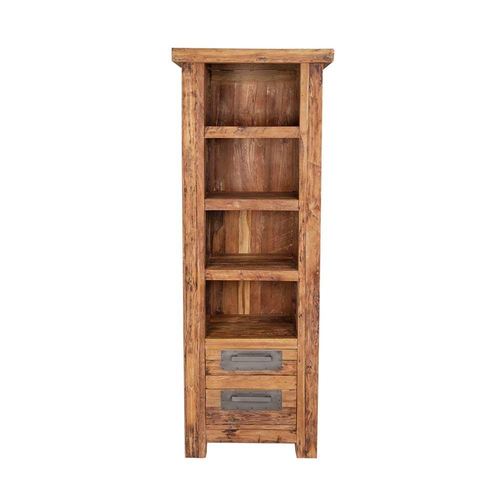Massivholz Bücherregal aus Teak Recyclingholz rustikal Pharao24