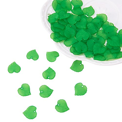 PandaHall 100Pcs Frosted Style Leaf Shape Acrylic Pendants Size 16x15x2mm Green