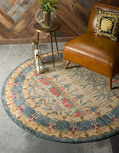 Unique Loom Edinburgh Collection Oriental Traditional French Country Navy Blue Round Rug 6 0 x 6 0