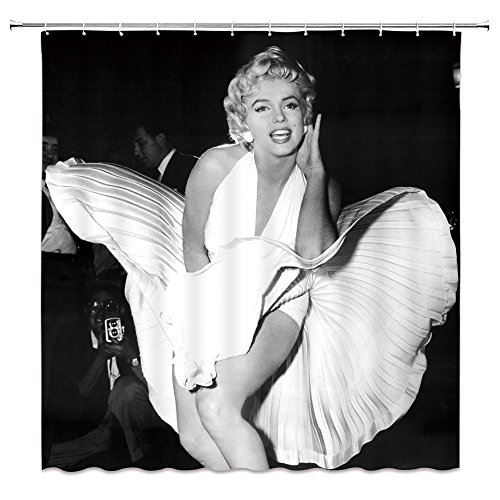 AMNYSF Sexy Woman Marilyn Monroe White Dress Classic Pose Decor Black Shower Curtain Famous Portrait,70x70 inch Waterproof Mildew Resistant Polyester Fabric Bathroom Accessories Curtains 12pcs Hook