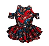 Winwinus Womens African Wax Fabric Dashiki Fine Cotton Falbala Shirt Top Black 5XL