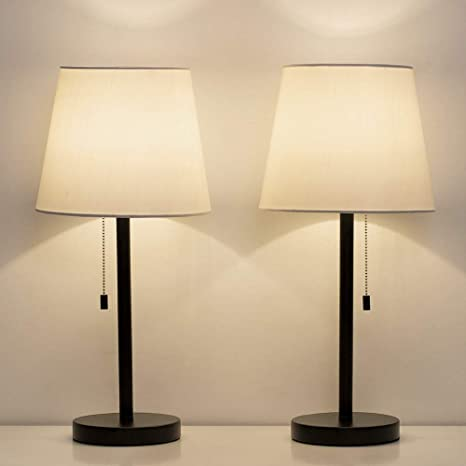 Haitral Bedside Table Lamps Set Of 2 Black And White Modern Desk Lamps For Bedroom Dorm Living Room Office 20 Inch H
