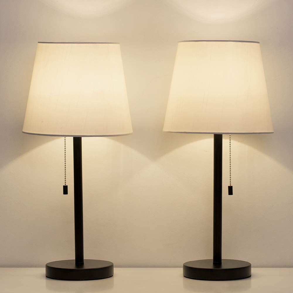 HAITRAL Bedside Table Lamps Set of 2 - Black and White Modern Desk Lamps for Bedroom