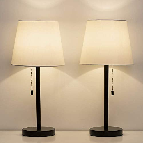 HAITRAL Bedside Table Lamps Set of 2 – Black and White Modern Desk Lamps for Bedroom, Dorm, Living Room, Office 20 inch H