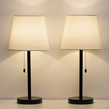 HAITRAL Bedside Table Lamps, Nightstand Lamps Set of 2, Modern Desk Lamps for Bedroom, Living room, Office - Black