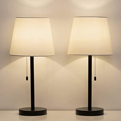 Haitral Bedside Table Lamps Set Of 2 Nightstand Lamps With Fabric Shade Modern Desk Lamps For Bedroom Living Room Office 20 Inch Black